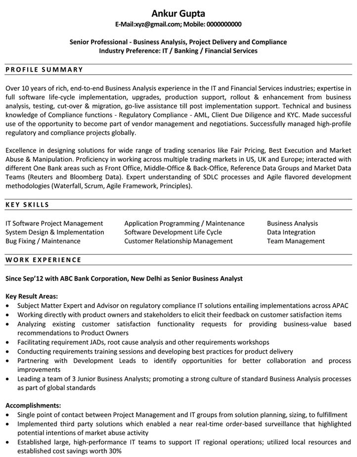 Resume Examples The Ba Guide