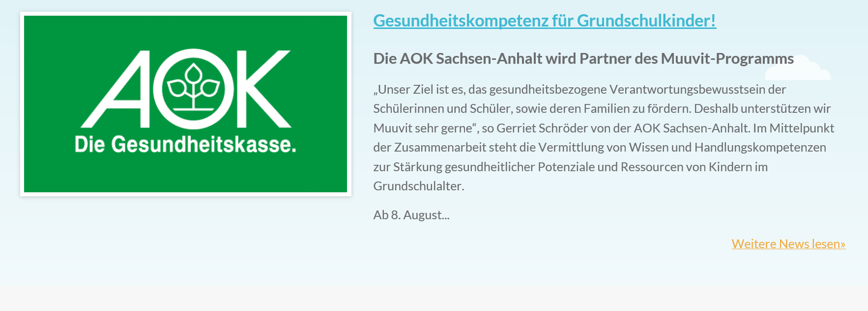 AOK Health Insurance - The German health insurer applies Muuvit as a health promotion and community engagement tool. Special focus on primary school children in Sachsen-Anhalt.
