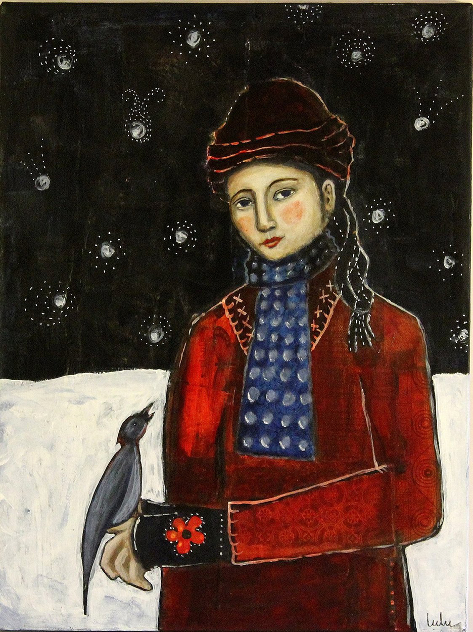 Girl with Bird in Snow