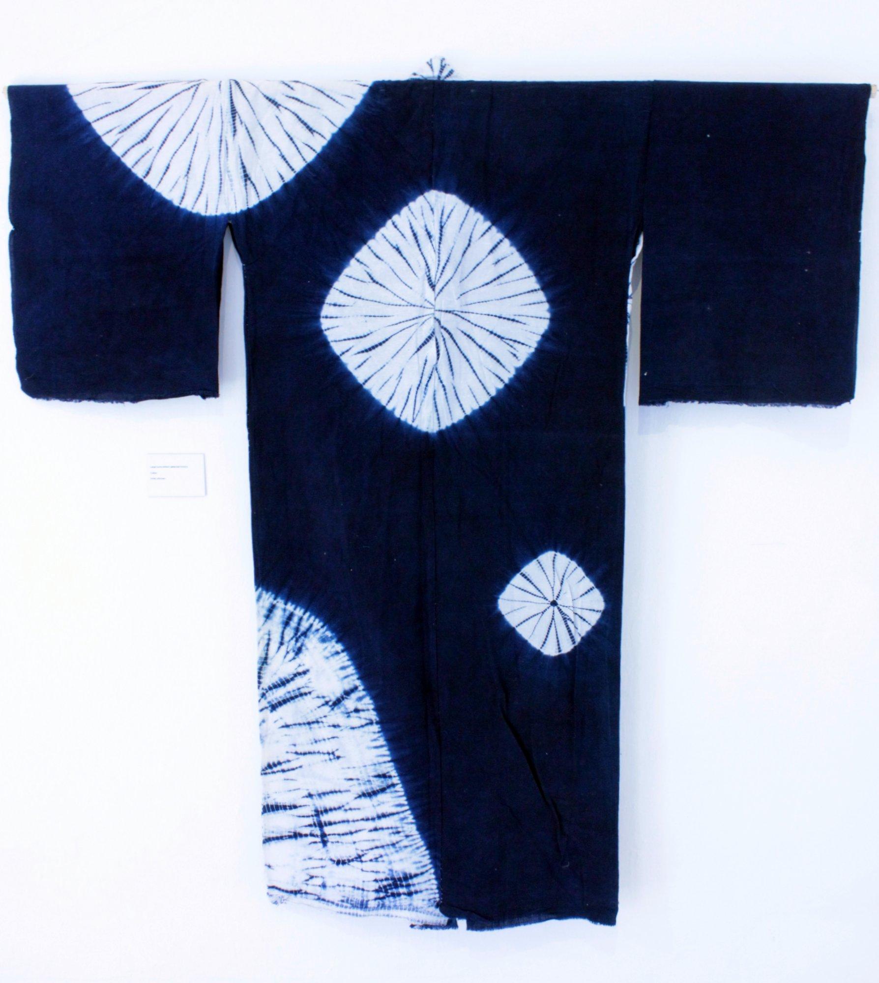 One of the beautiful hand-dyed shibori kimonos on display inside the folly.