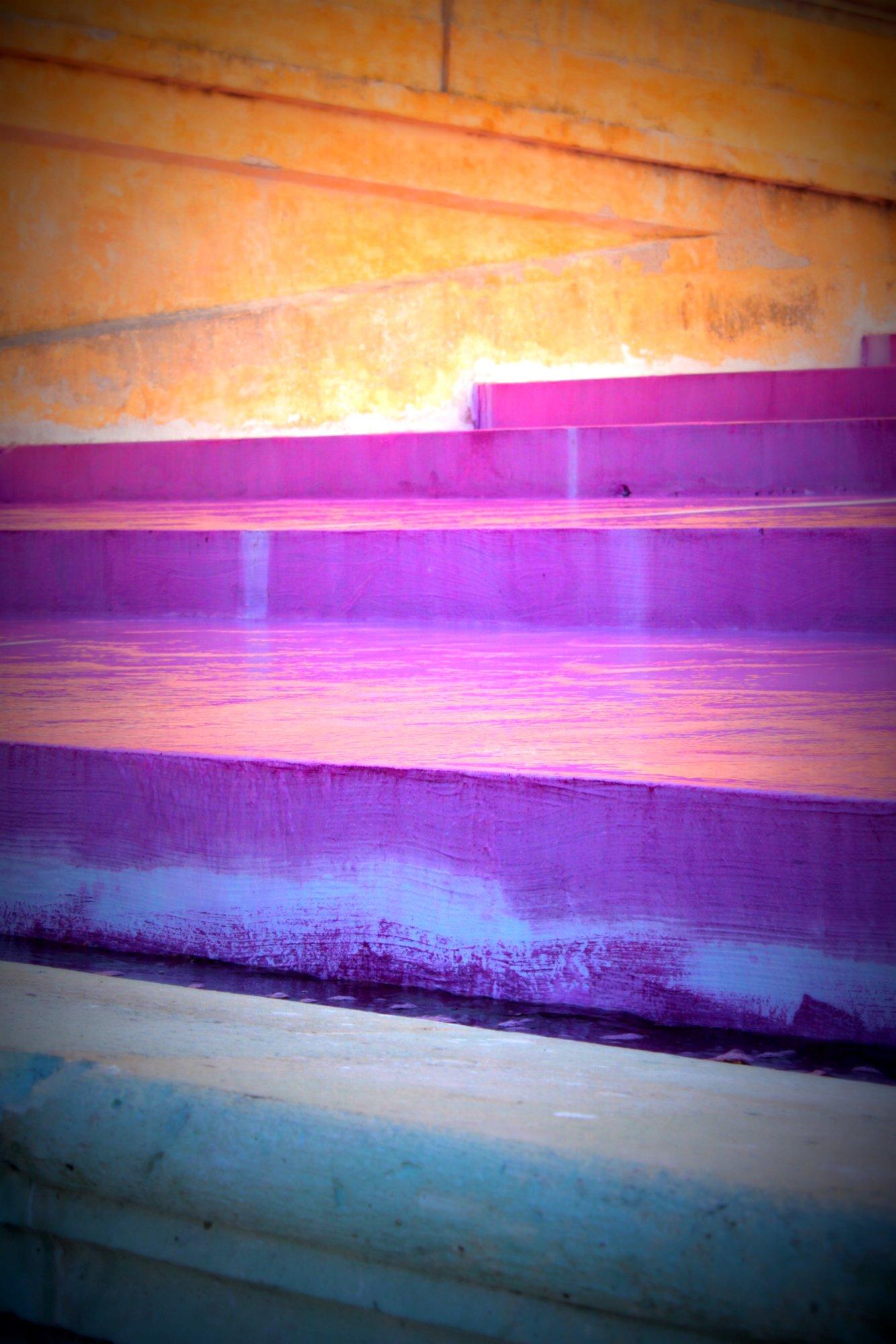The hacienda's pink water fountain