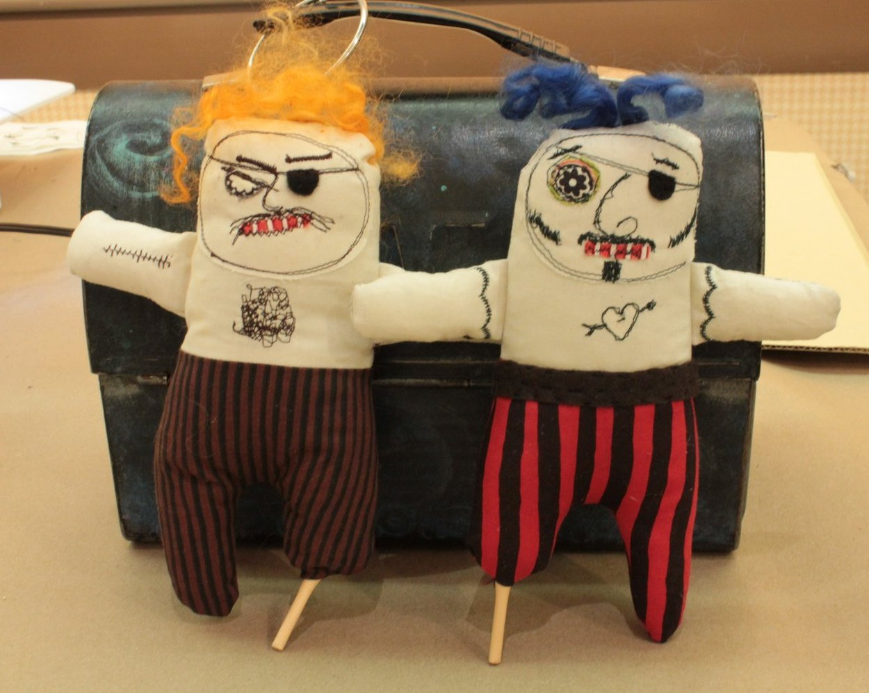 A couple of jaunty pirates made during class