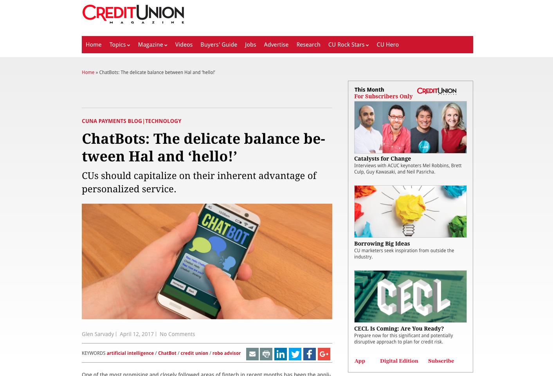 Credit Union ChatBots