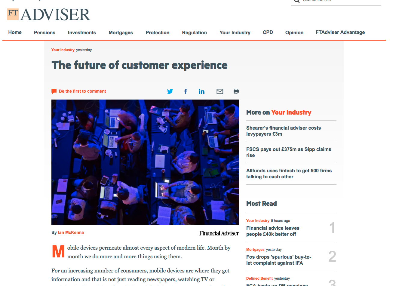FT Adviser – the future of customer experience