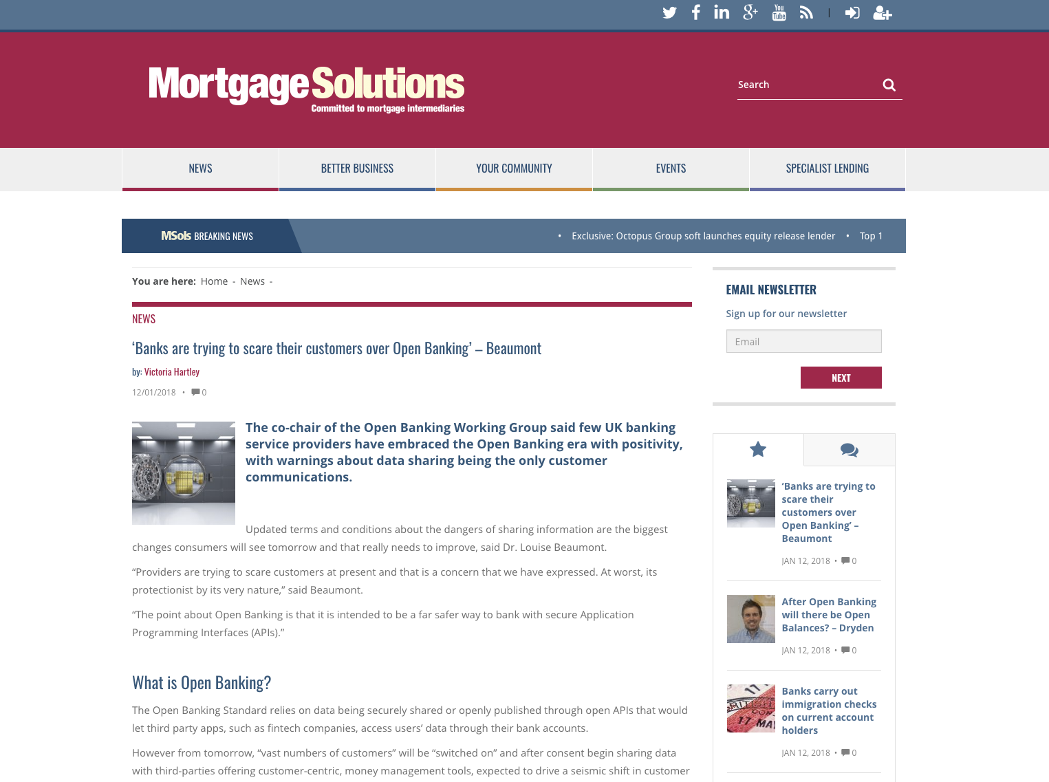 Mortgage Solutions article