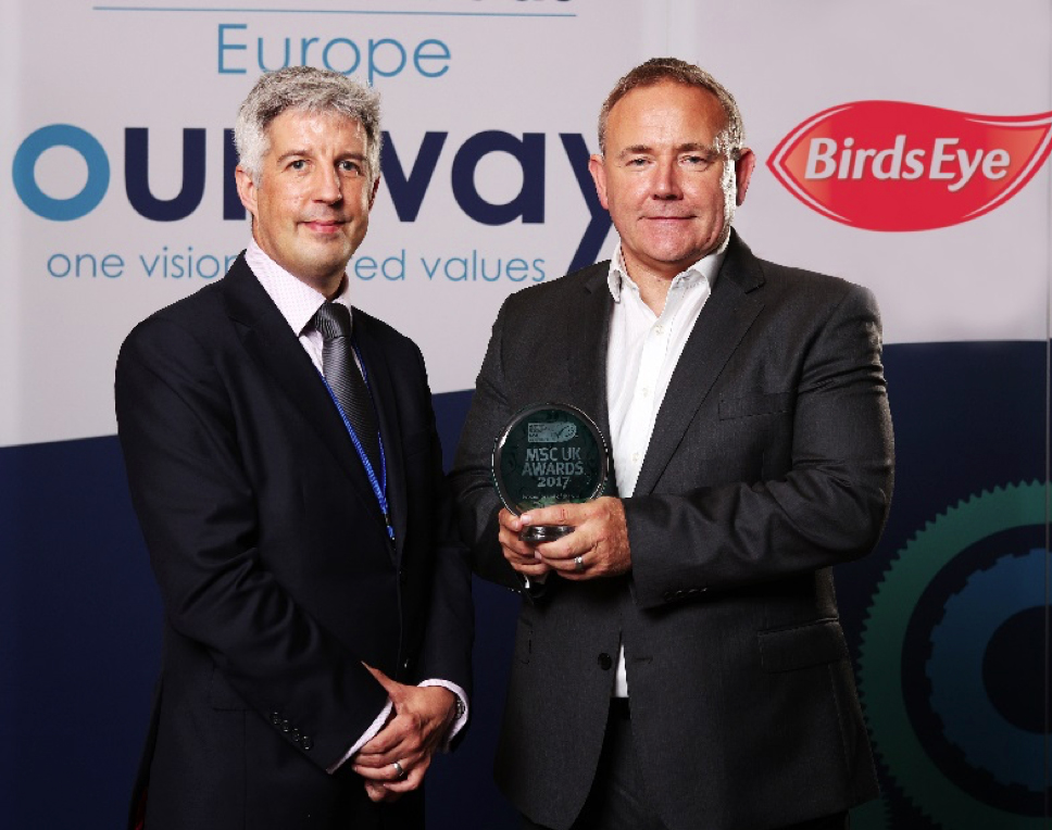 Wayne Hudson (right), Birds Eye UK & Ireland Managing Director, accepted the award for UK Frozen Brand of the Year from Toby Middleton, MSC North East Atlantic Programme Director, at Birds Eye's new head office in Feltham.