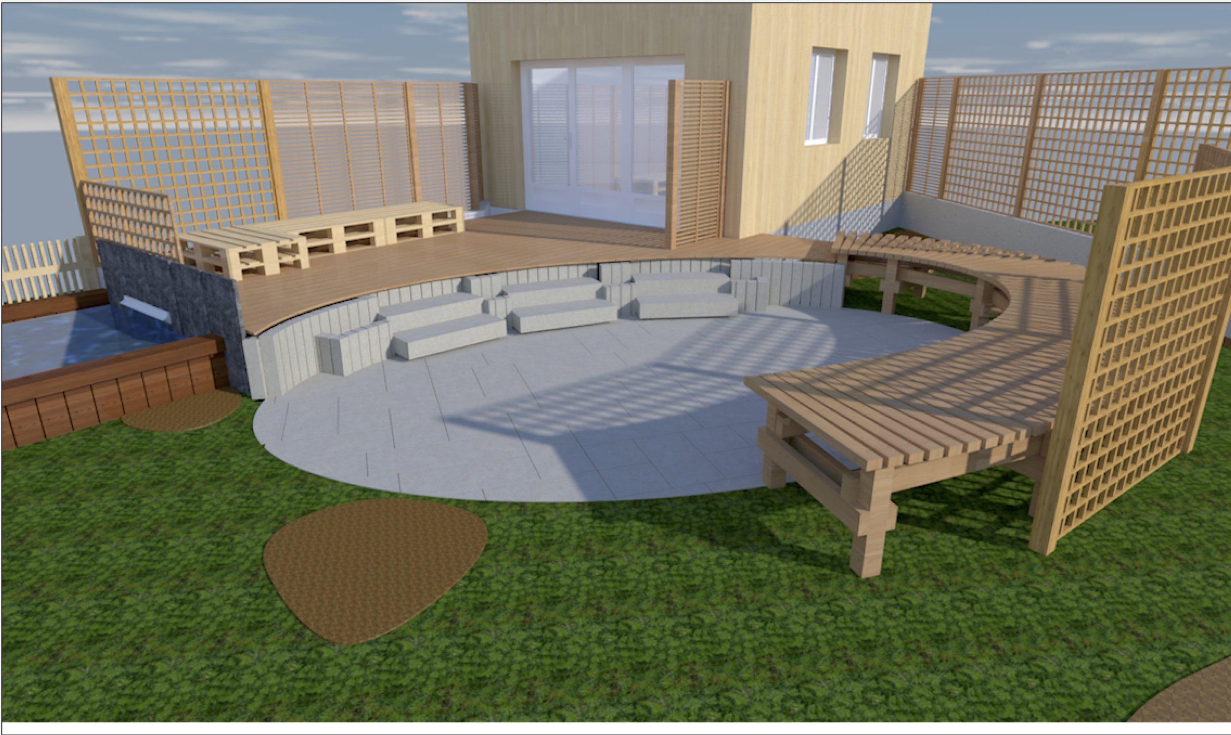 projet terrasse bois et pierre