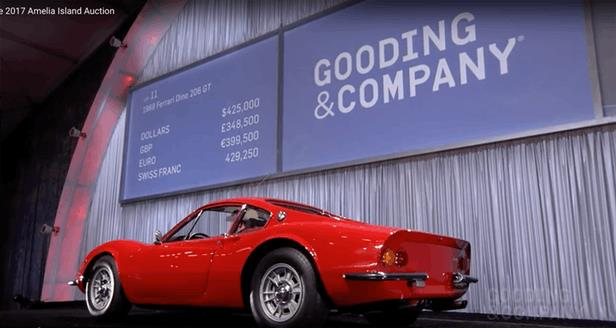 This 1969 Ferrari Dino 206 GT sold for $467,500 against an estimate of $500,000 to $600,000 | Official Auction Page(Credit: Gooding & Co)