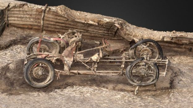 Archaeologists created a 3D model of the car to understand how it was left on the site