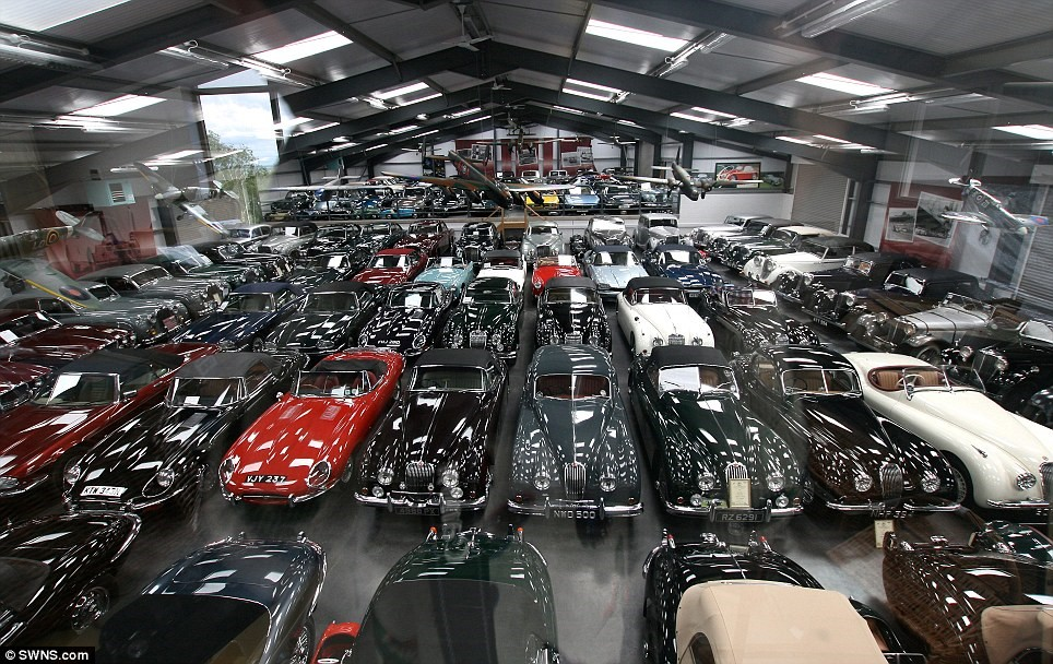 All yours... if you've got deep pockets: Dr Hull's 457-strong car collection is currently kept in warehouses in Herefordshire