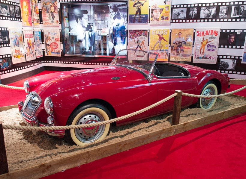 """The MGA appeared in the movie""""Blue Hawaii"""" with Elvis Presley, (He liked the car so much, he bought it and it now resides at Graceland.)."""