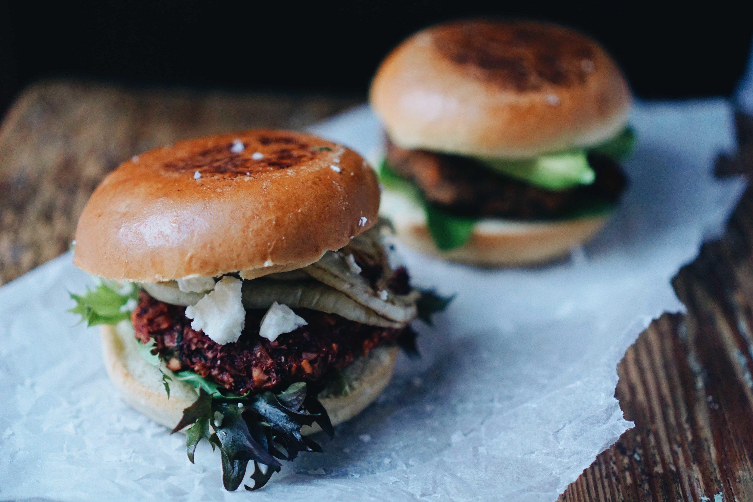 Vegetarian burger on the left, vegan on the right