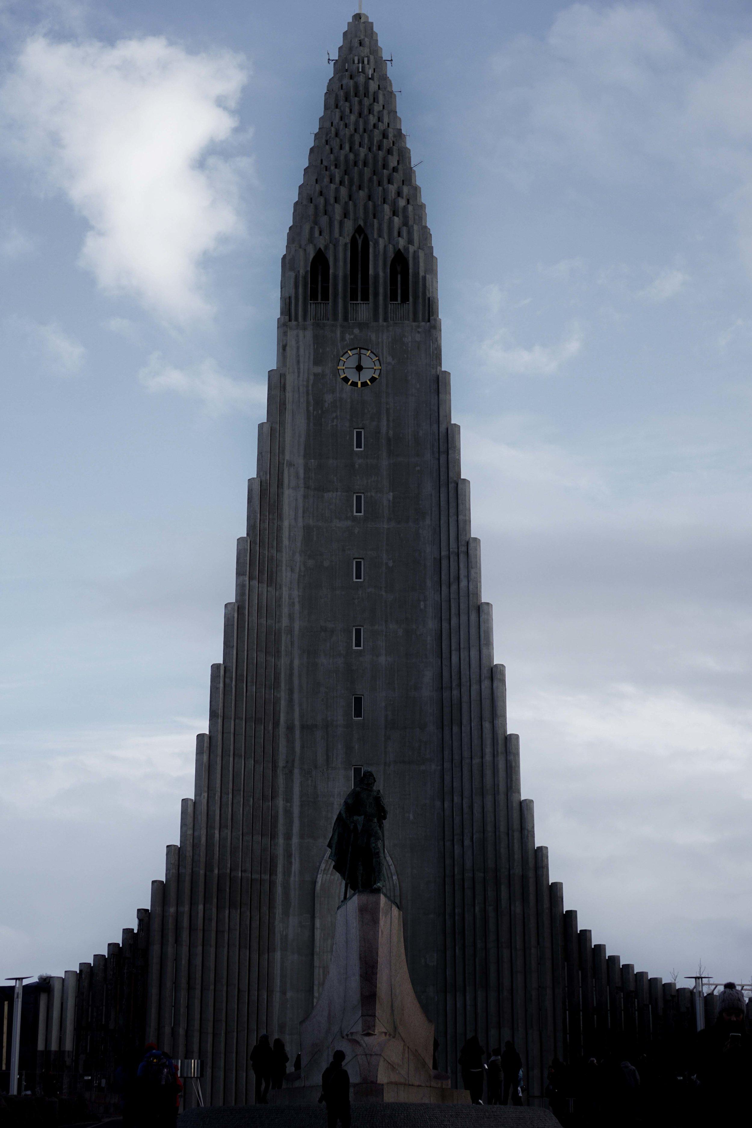 Hallgrímskirkja in the middle of Reykjavik.