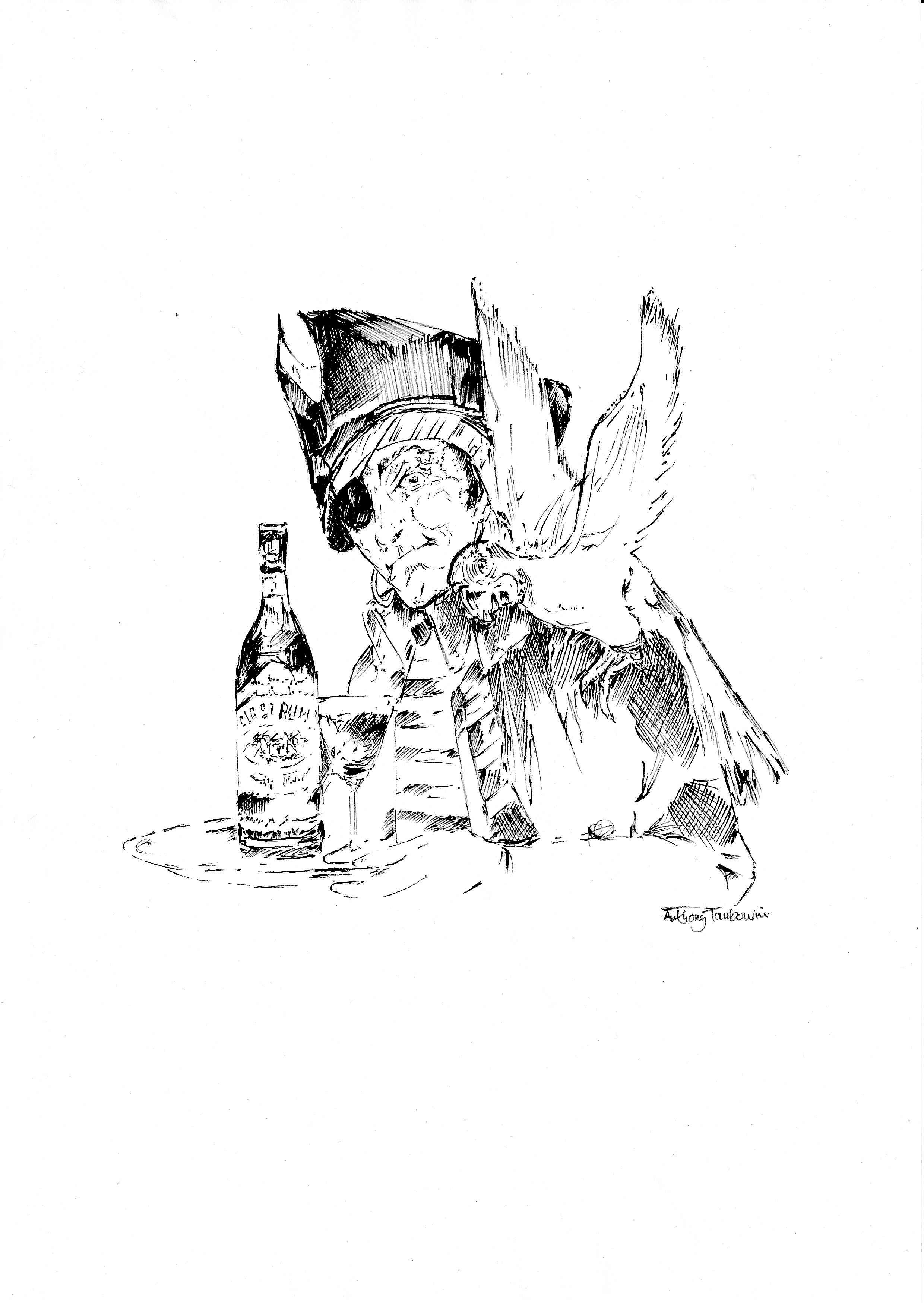 Si tu bois du rhum le matin, t'es pas un alcoolique, t'es un pirate ! Dessin inspiré du rhum Old StCroix par  Anthony Tambourini