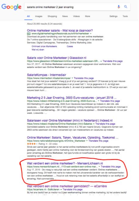kan ik op de eerste pagina van google komen?