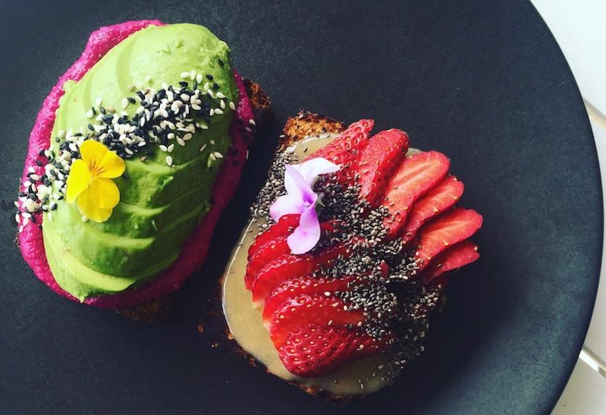 Honestly Good: Paleo Pumpkin bread with beetroot hummus & avo, Paleo Coconut Banana bread with tahini, honey & strawberries