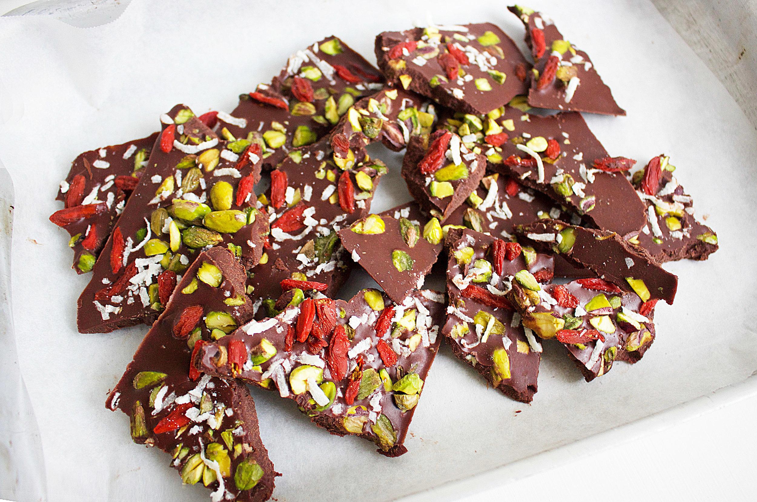 Raw Christmas Bark, recipe by Jessica Sepel