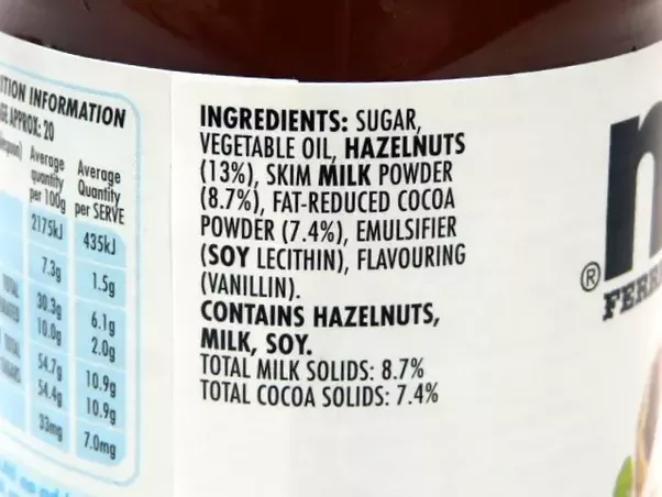 The ingredients list of a famous chocolate hazelnut spread which rhymes with patella. Note that sugar is the #1 ingredient, while hazelnuts don't even make it onto the list til #3, and cocoa at #5.