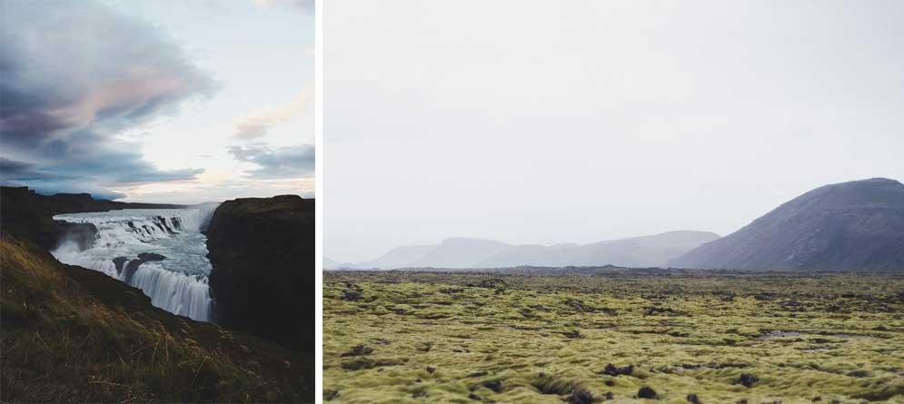 Left:  Gullfoss. Day 1  |  Right:  lava field on Reykjanes Peninsula, Day 1