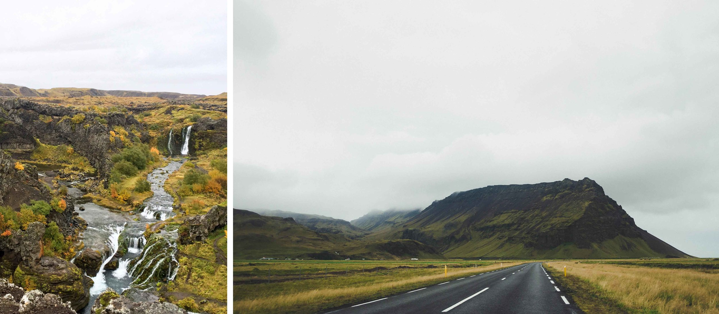 Left:  Gjáin (you may recognize it as a filming location from GOT), Day 3 |    Right:  a typical scene along the Ring Road in the south, Days 3-4