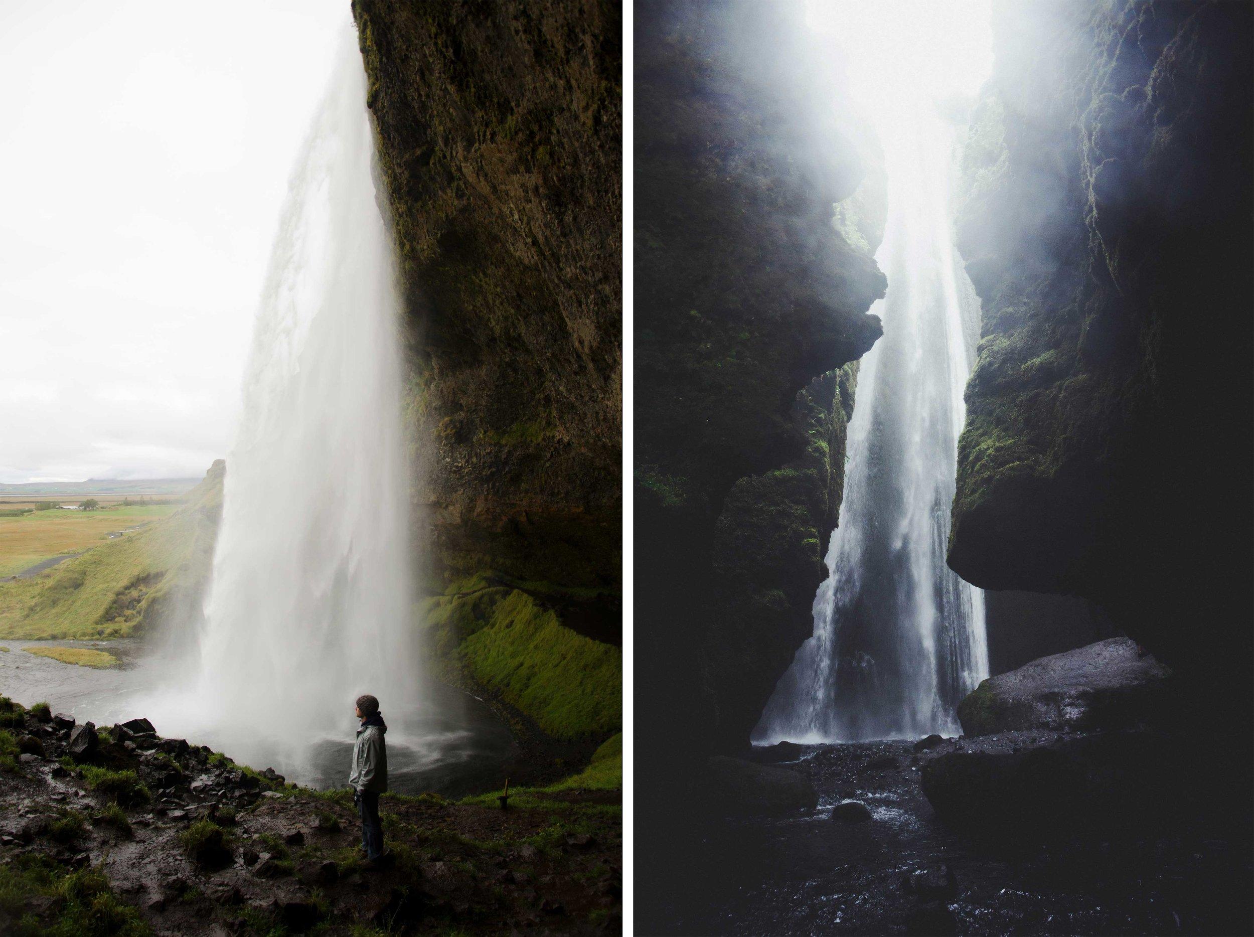 Left: Seljalandsfoss, Day 3|  Right: Gljúfrafoss, Day 3