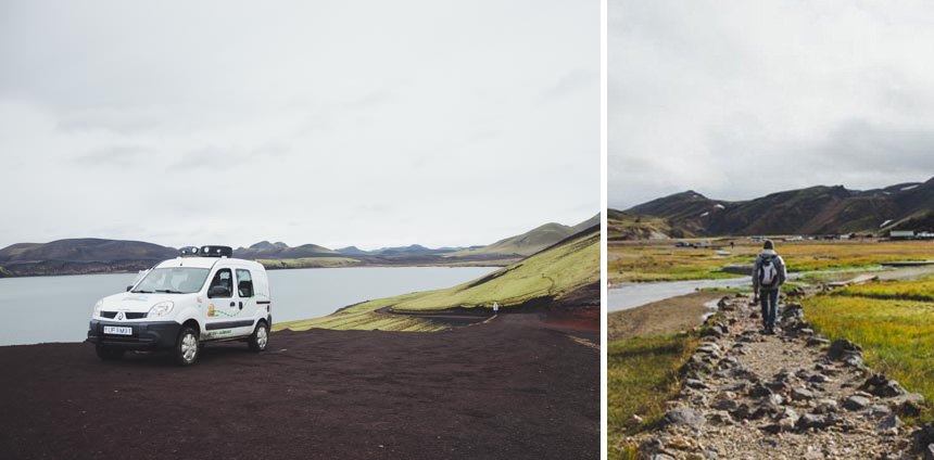 Left:  our Snail camper on the road into Landmannalauger, Day 2 |    Right:  walking the last bit into Landmannalauger, Day 2