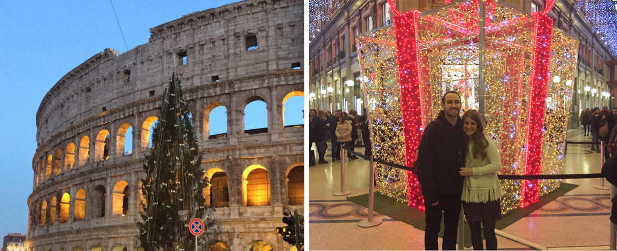 Rome just a few days after Christmas still decorated for the holidays. You can't beat the view of a Christmas tree in front of the Colosseum!   Absolutely breathtaking!