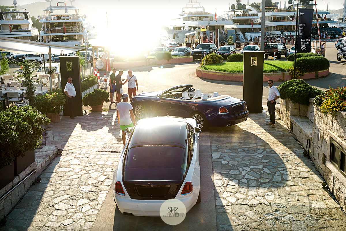 The sun low in the sky just before sunset in Porto Cervo, Sardinia - photographed overlooking the Rolls-Royce Summer Studio with the wonderful backdrop of the superyachts.