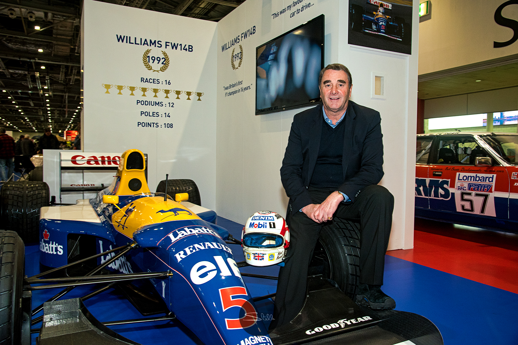 World Champion racing driver Nigel Mansell at the London Classic Car Show in February 2018 where he was presented with the Icon Award for services to motor racing.