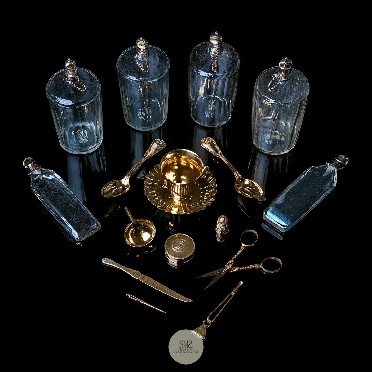 The glass and implements contents of a Sevres travel box for a magazine feature 2018.