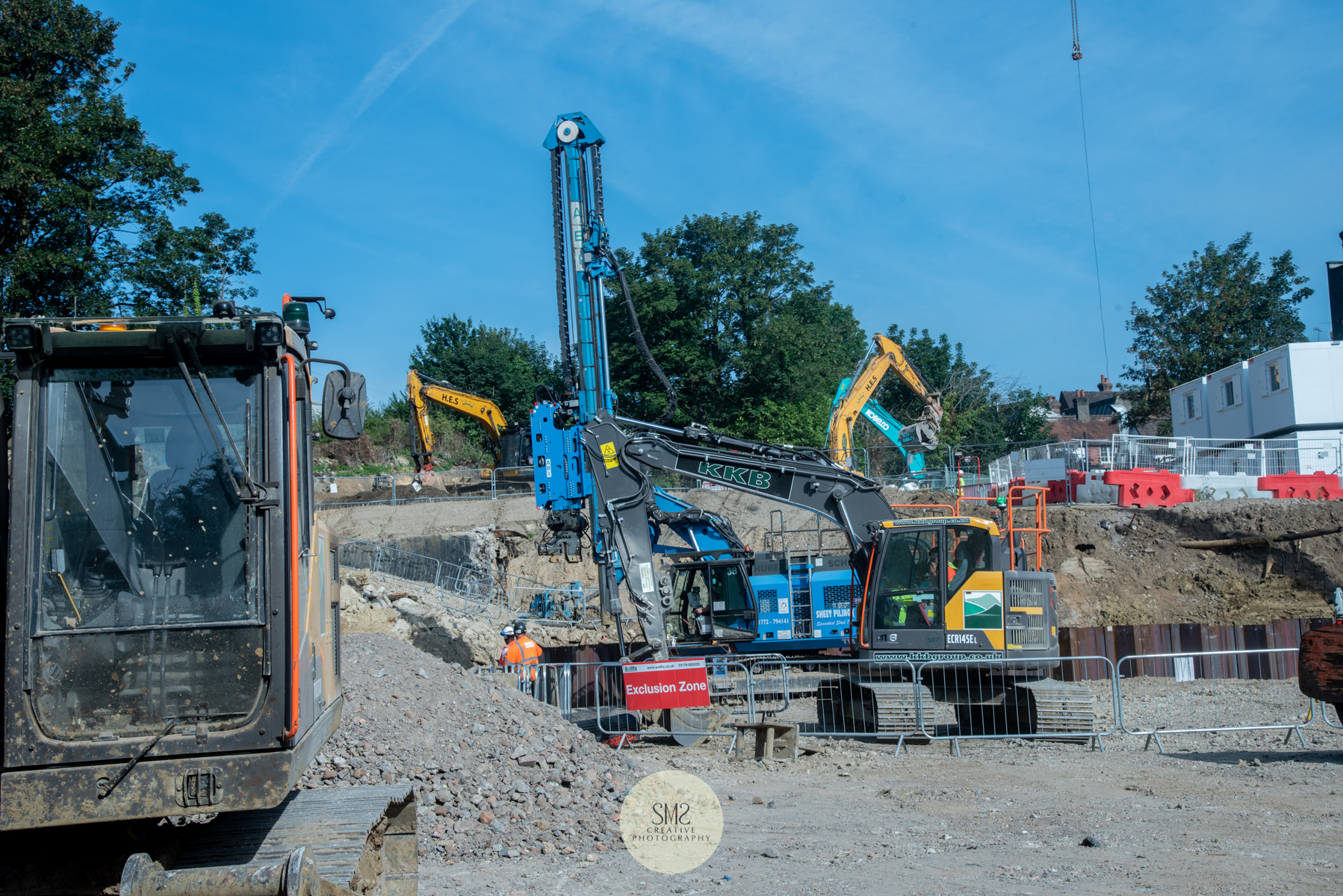 Machinery in place for sheet piling to Blocks A & B