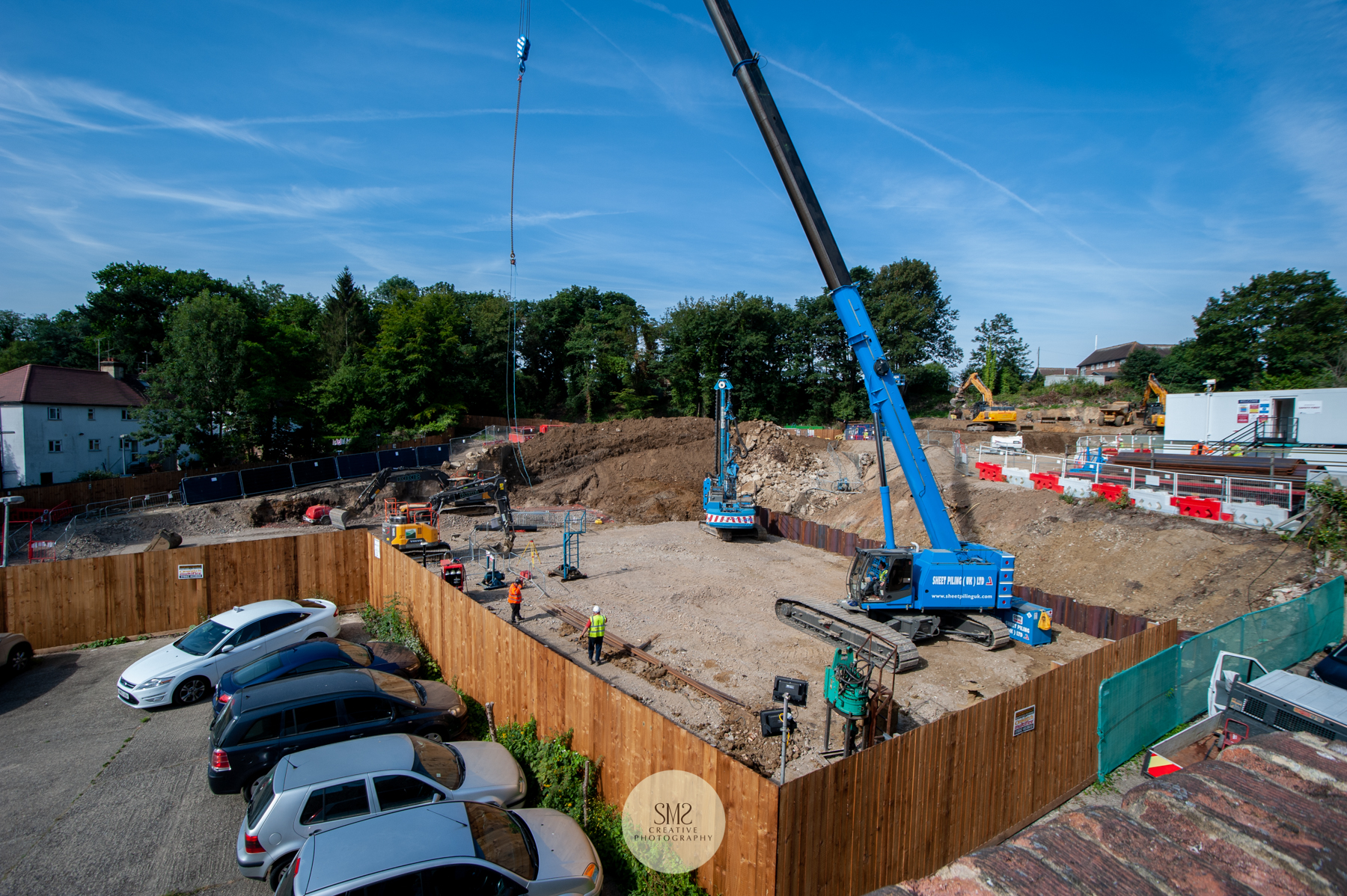 The sheet piling is taking place for the construction of all 3 Blocks, A, B & C, this photograph was taken on 17 July 2019,