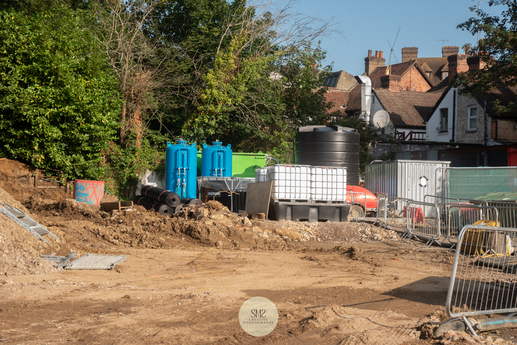 The tanks are part of the water purification process in the corner of the site behind the shops in Station Road East.