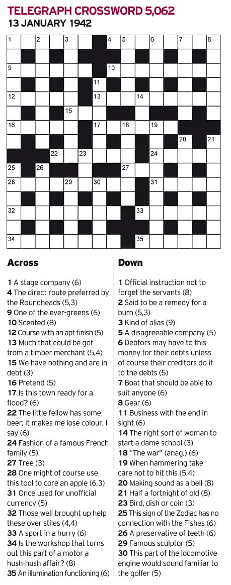 Answers Across: 1 Troupe, 4 Short cut, 9 Privet, 10 Aromatic, 12 Trend, 13 Great deal, 15 Owe, 16 Feign, 17 Newark, 22 Impale, 24 Guise, 27 Ash, 28 Centre bit, 31 Token, 32 Lame dogs, 33 Racing, 34 Silencer, 35 Alight.    Down: 1 Tipstaff, 2 Olive oil, 3 Pseudonym, 5 Horde, 6 Remit, 7 Cutter, 8 Tackle, 11 Agenda, 14 Ada, 18 Wreath, 19 Right nail, 20 Tinkling, 21 Sennight, 23 Pie, 25 Scales, 26 Enamel, 29 Rodin, 30 Bogie.
