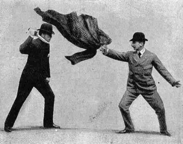 A Coat Throw in Bartitsu used to Disorientate