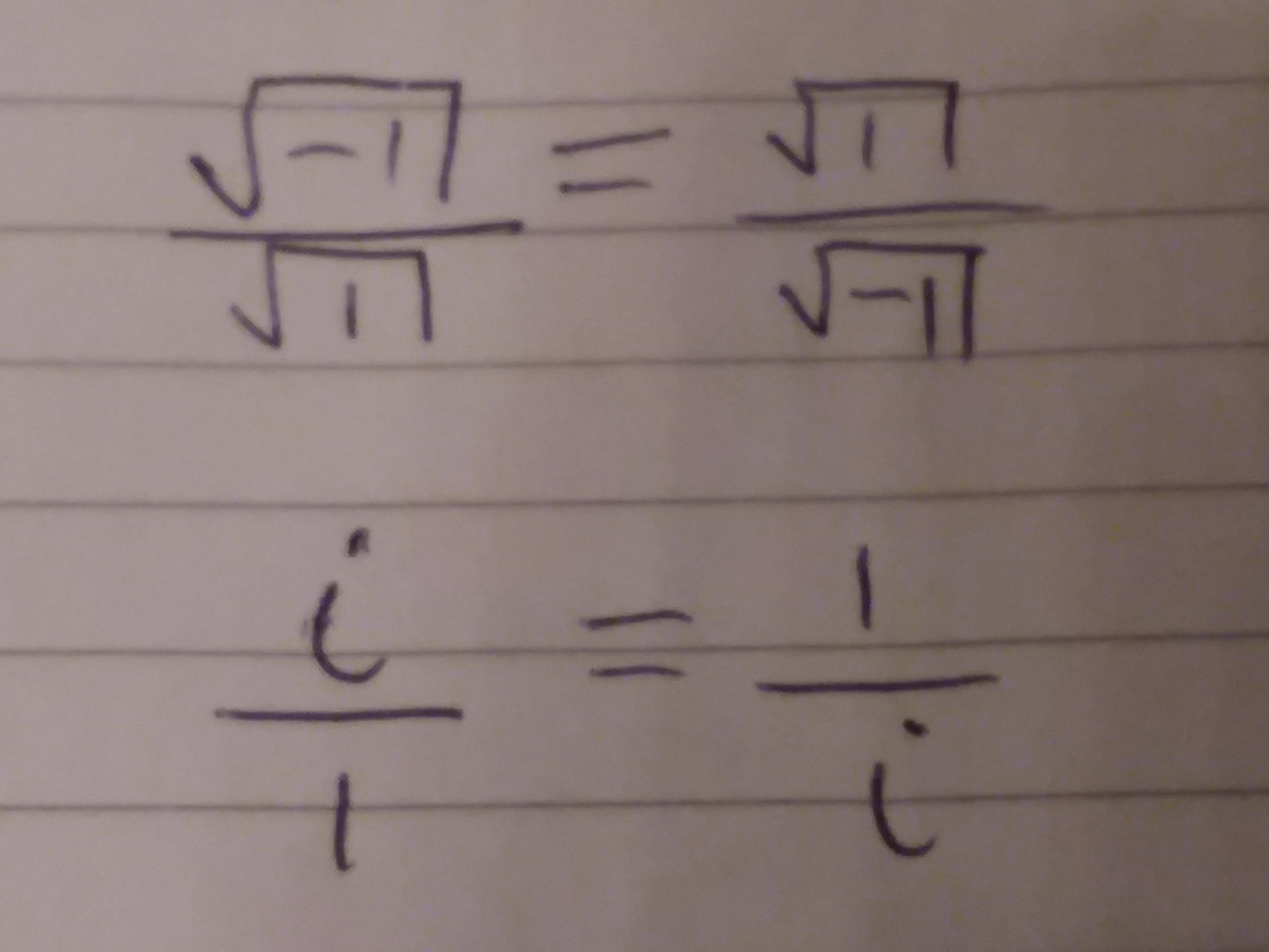 By definition the square root of -1 is i and the square root of 1 is 1.