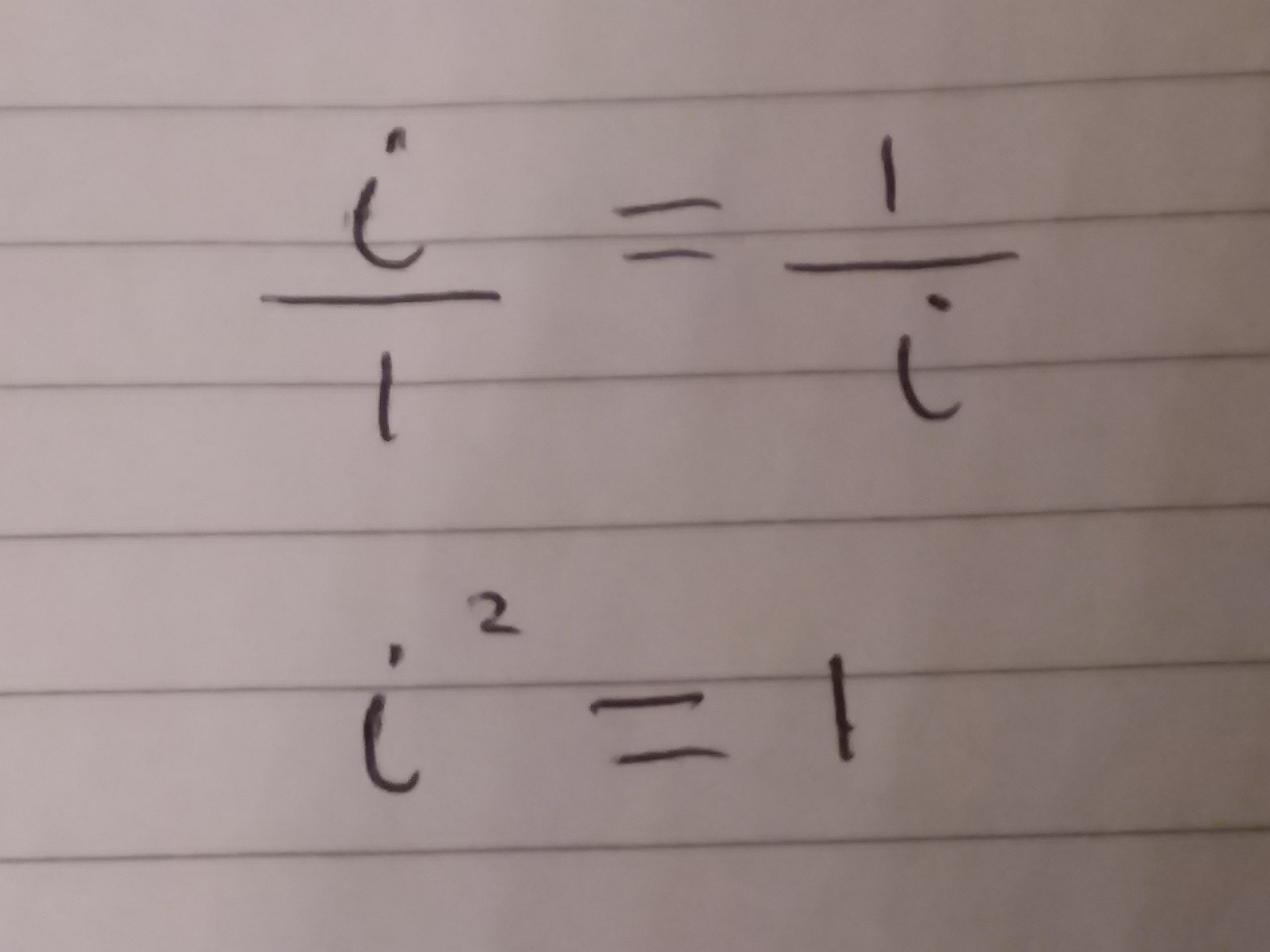 Crossmultiplying, I've multiplied up by i and by 1 to get a result.