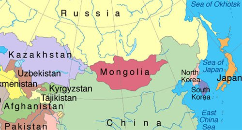 Location of Mongolia