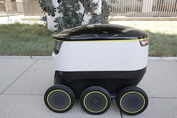 A Starship Robot. The designers put in effort to make them look endearing so that humans wouldn't mess with them.