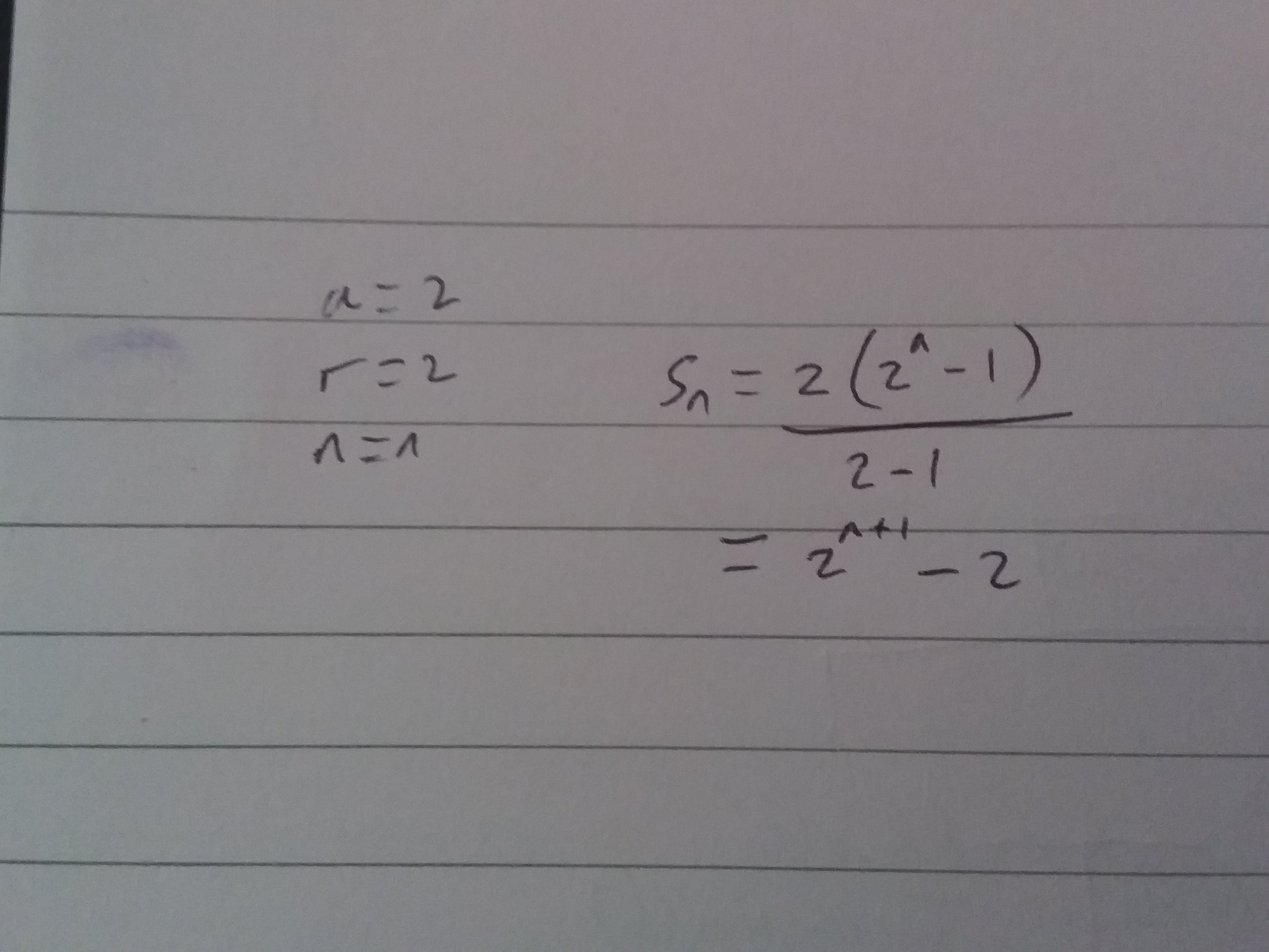 The sum of a geometric series.