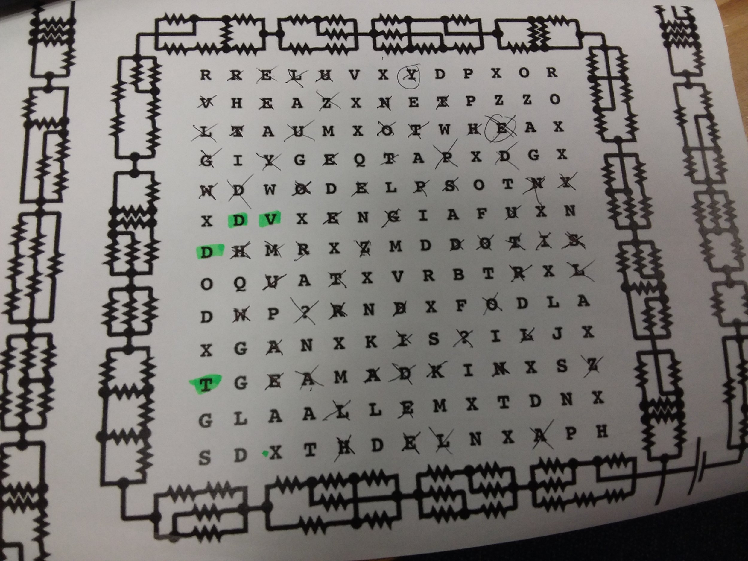 Ignore the green highlighting. The y on the top line is not crossed out but the circled e is. Sorry :P