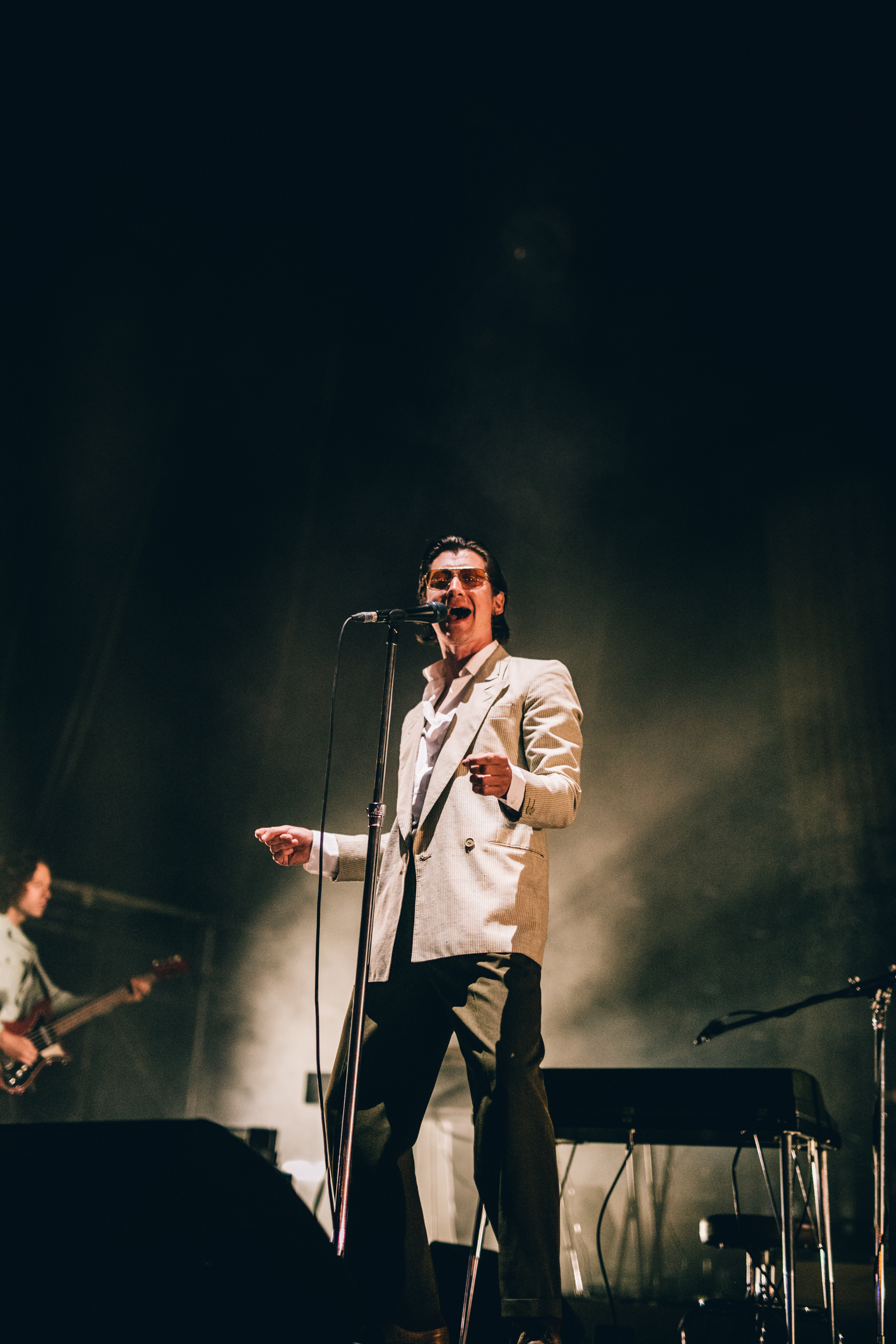Alex Turner gets into croon mode during the band's thrilling set on opening night, Thursday 12 July. Credit: Arlindo Camacho