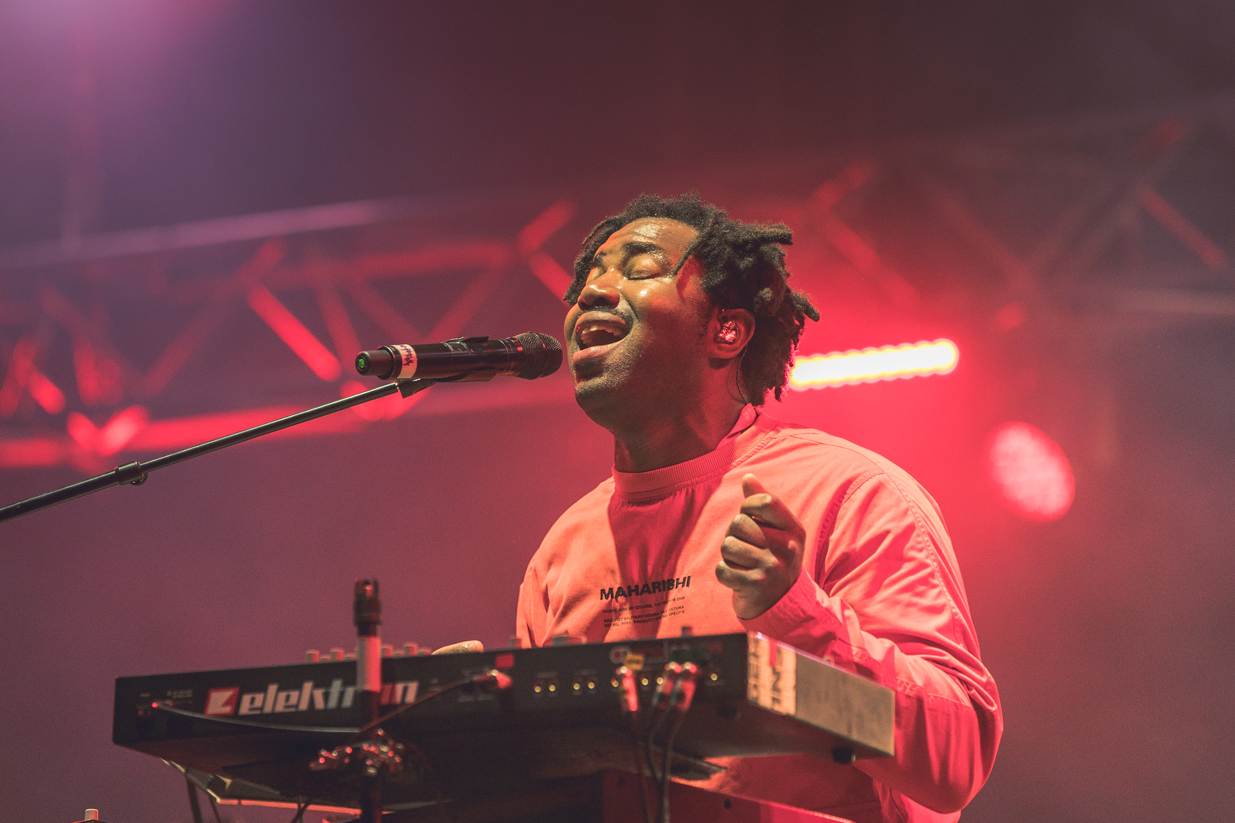 No one knows him like the piano... even though this is actually a synth. Sampha on Thursday 12 July. Credit: Hugo Macedo