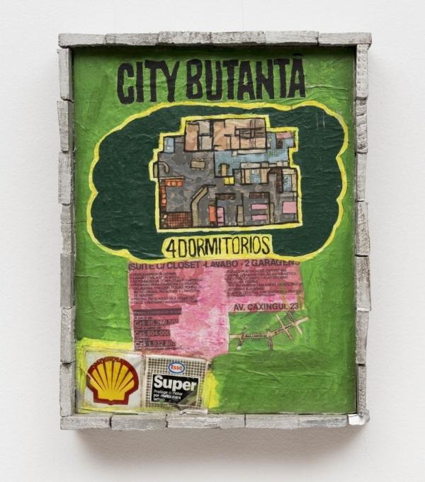 Leda Catunda   Apartamento,  1989 acrílica s/ tela, tecido e madeira, 35 x 27cm   Apartament, 1989  acrylic on canvas, fabricand wood, 13    ¾        x 10  ⅝  inches