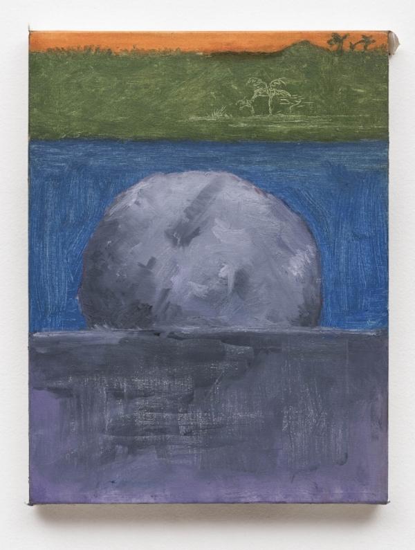 Rodrigo Bivar   Pedra Branca, 2016  óleo s/ tela, 40 x 30 cm   White Stone, 2016   oil on canvas, 15  ¾  x 13/16 inches