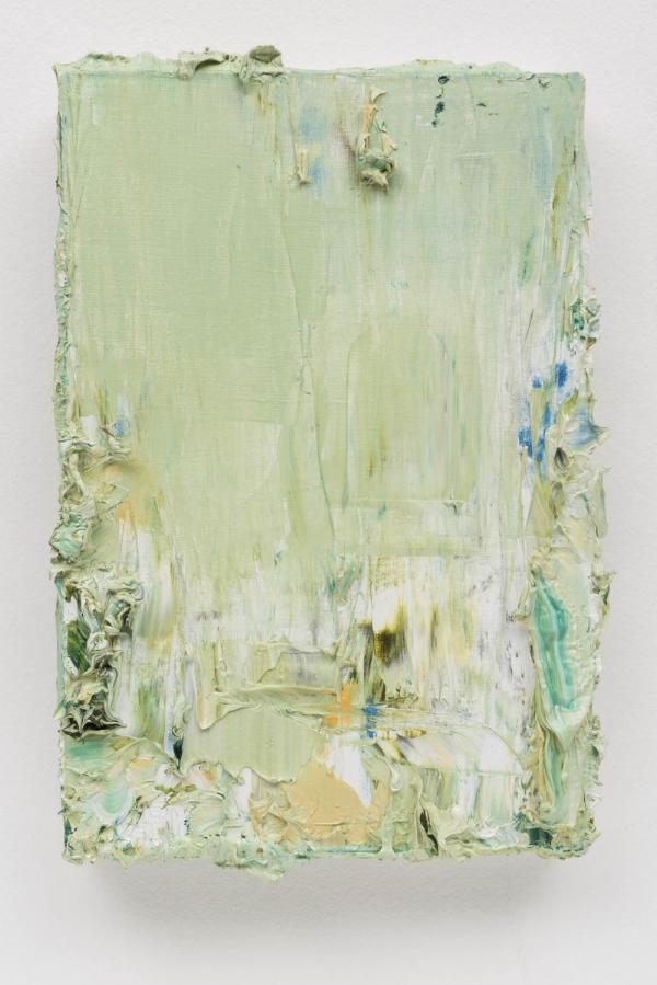 Alvaro Seixas   Pintura sem título (Empasto Verde), 2016  óleo e acrílica s/ tela, 30 x 20 cm   Untitled Painting (Green Impasto), 2016   oiland acrylic on canvas, 11 13/16 x 7  ⅞  inches