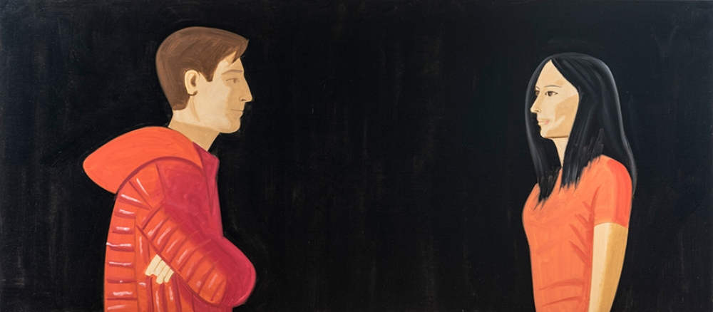 Alex Katz,  Jamie and Anna , 2014, óleo s/tela |  oil on linen  , 122 x 274 cm