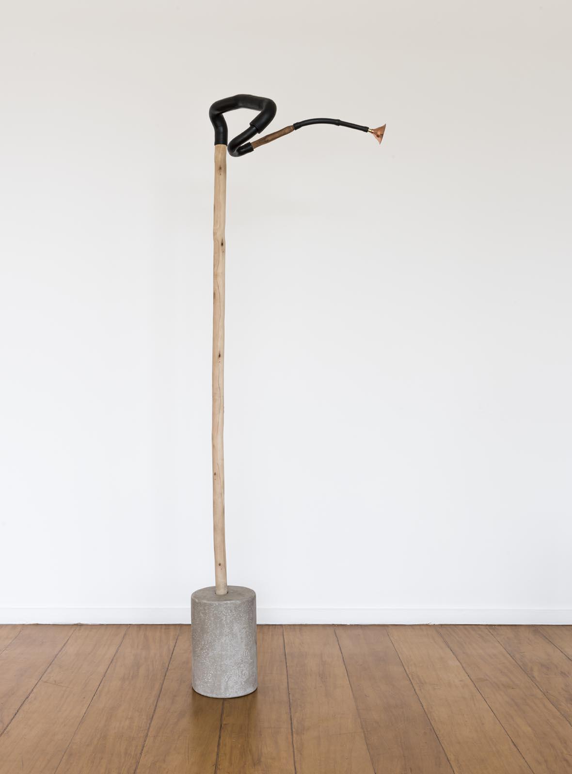 Claudio Cretti  Sem título    Untitled,  2017 Cimento, madeira, borracha e madeira   Cement, wood, rubber and wood ,182 x 55 x 21 cm