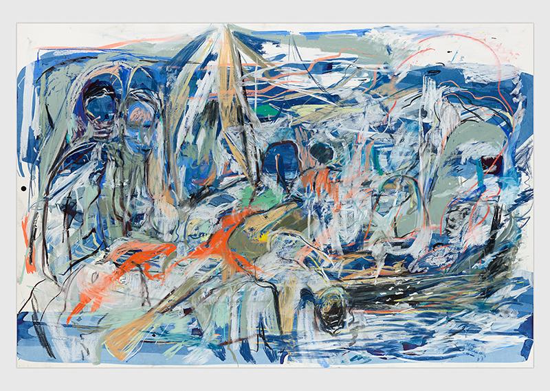 "Cecily Brown, Sem título  (naufrágio) | Untitled   (shipwreck) ,2017, pastel, aquarela, tinta e carvão sobre papel |  pastel, watercolour, ink and charcoal on paper ,101.6 x 152.4 cm | 40 x 60 "" –  Foto |  Photo :Genevieve Hanson"