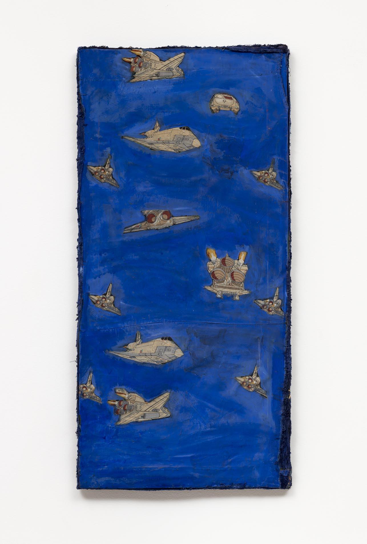 Leda Catunda,  Os foguetes, 1989,acrílica sobre tecido [a crylic on fabric ] 94 x 45 cm
